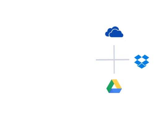 cloud with lines leading to dropbox onedrive and google drive icons