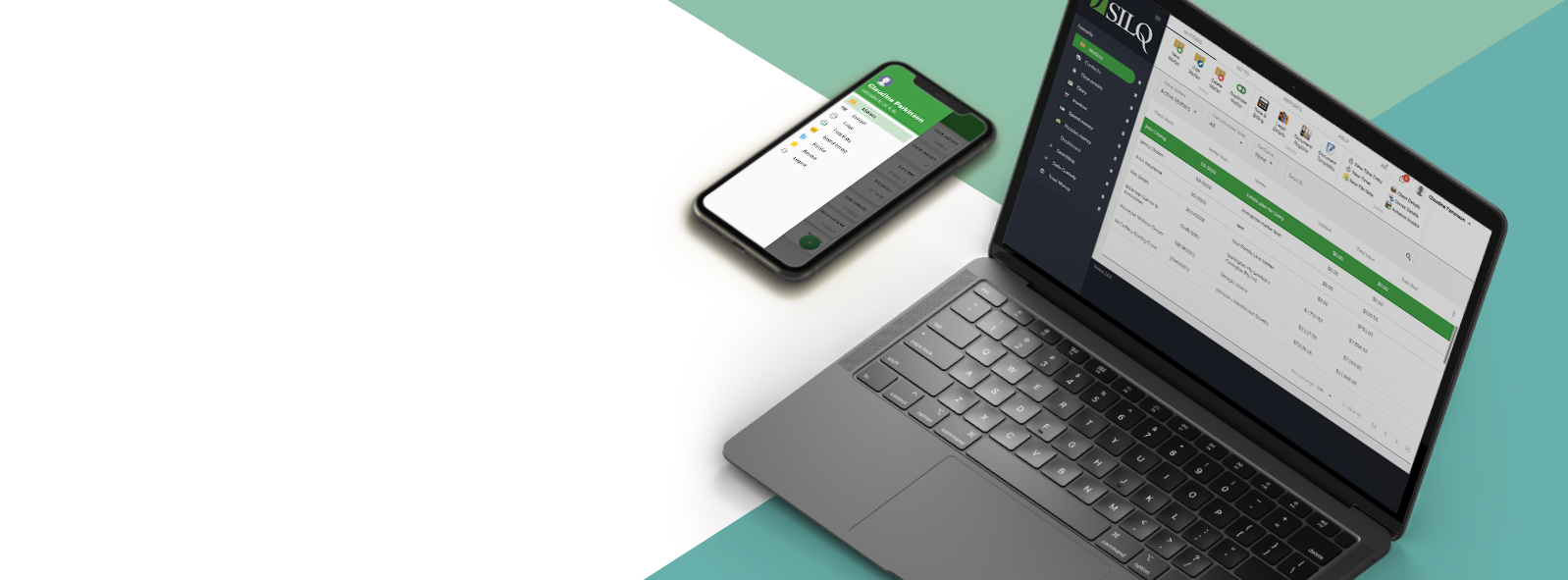 silq solicitor laptop and mobile with silq legal practice management software matters screen