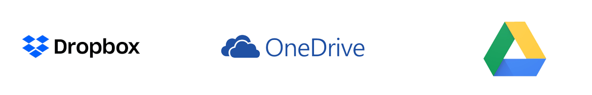 dropbox onedrive and google drive logos
